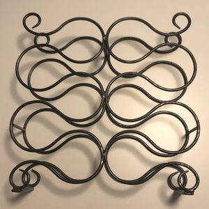 "Gray Metal Wine Rack, 16"" H x 16"" W x 4"" D"